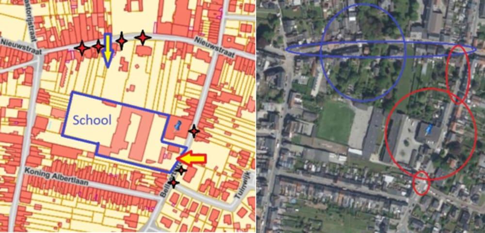 Luchtfoto's als voorbeeld voor de verduidelijking van veiligheidsmaatregelen bij schoolomgevingen