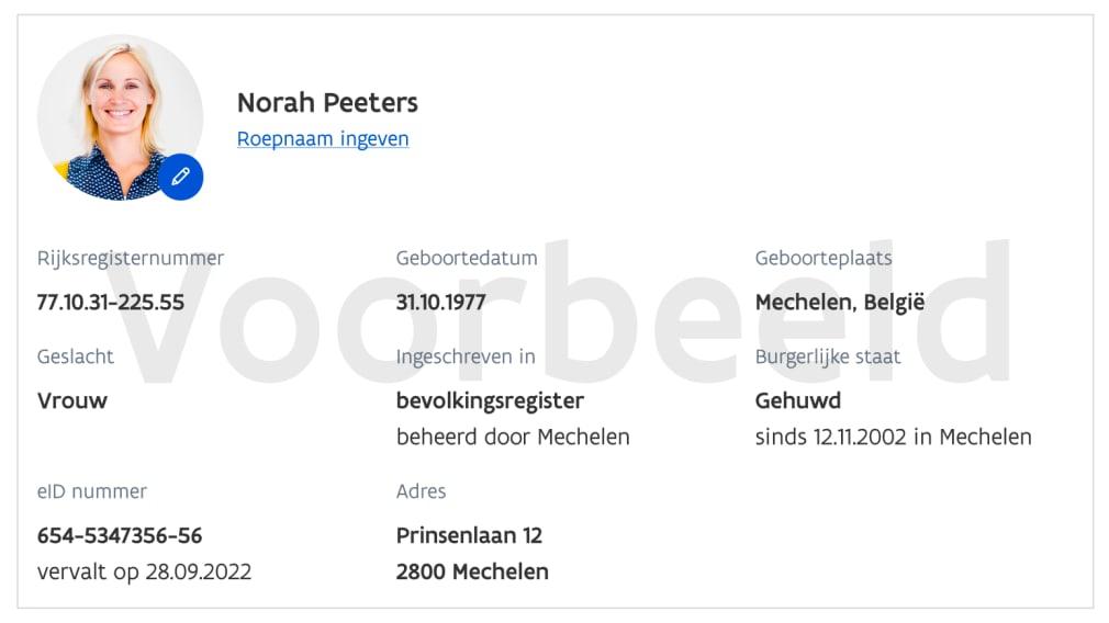 Fictief voorbeeld identiteitsgegevens Norah Peeters, met onder andere rijksregisternummer, geboortedatum, geboorteplaats, geslacht, burgerlijke staat en eID nummer