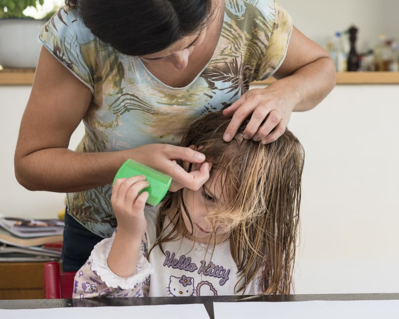 Mama behandeld het haar van haar dochter tegen luizen