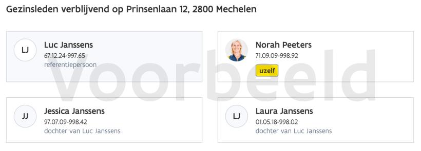 Fictief voorbeeld van gezinsleden verblijvend op Prinsenlaan 12, 2800 Mechelen, met Luc Janssens als referentiepersoon, Norah Peeters als uzelf, en Jessica en Laura Janssens als twee dochters