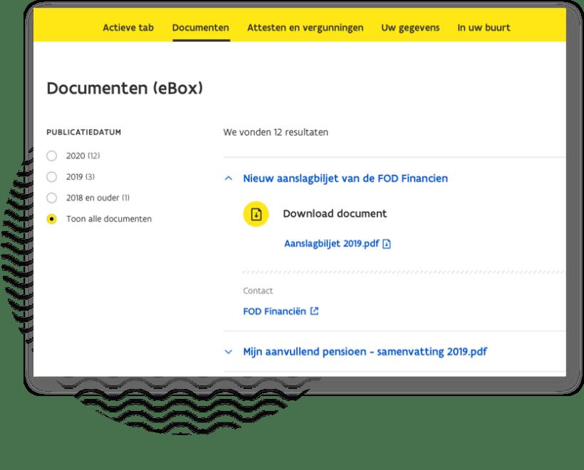 overzicht sectie documenten (e-box) in MBP open vergrote weergave