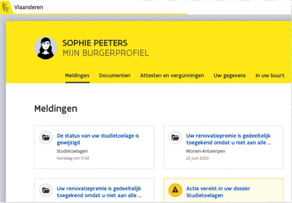 Screenshot van Mijn Burgerprofiel: 'Sophie  Peeters' met daaronder tabs 'Meldingen', 'Documenten', ...
