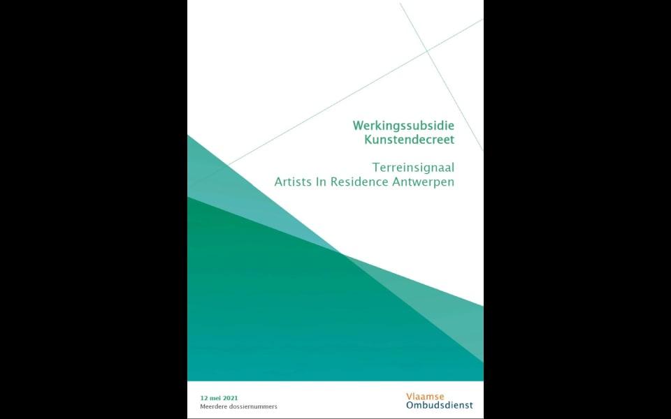 Cover rapport werkingssubsidie kunstendecreet